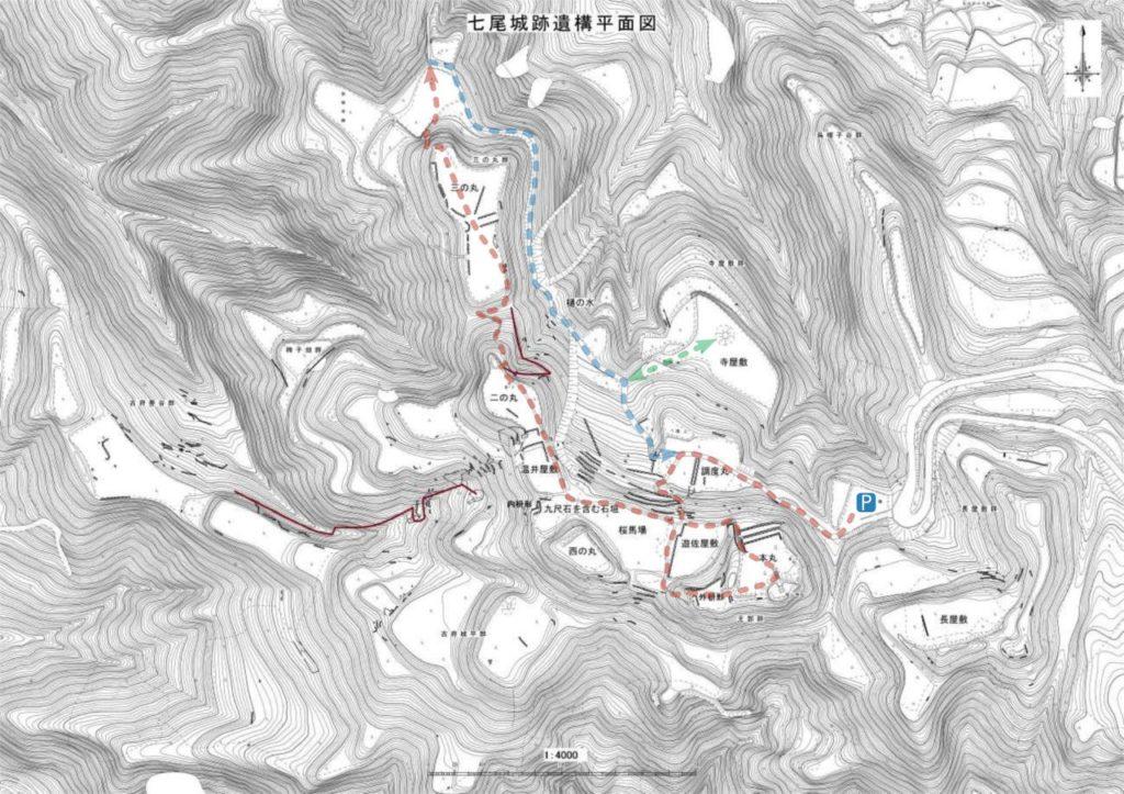 七尾城跡遺構平面図