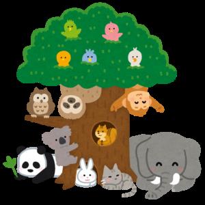 木に集まる動物たち