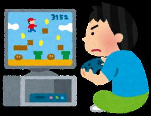 テレビゲームに熱中する男の子