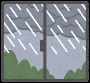 窓の外は雨