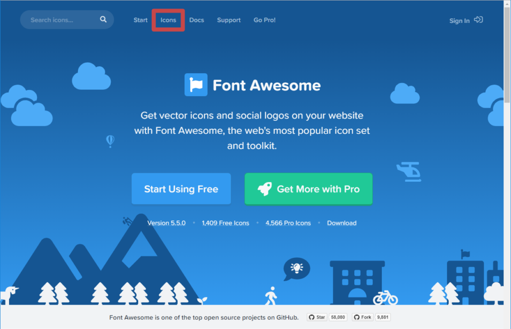 Font Awesome のトップ画面