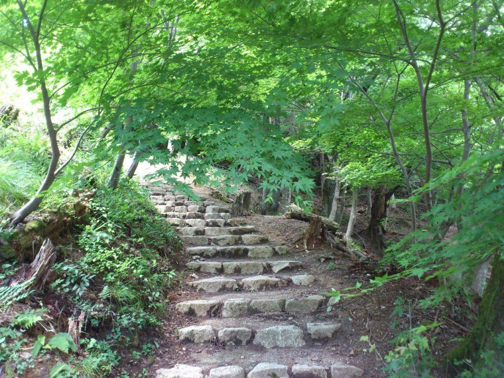 鶏足寺への石段