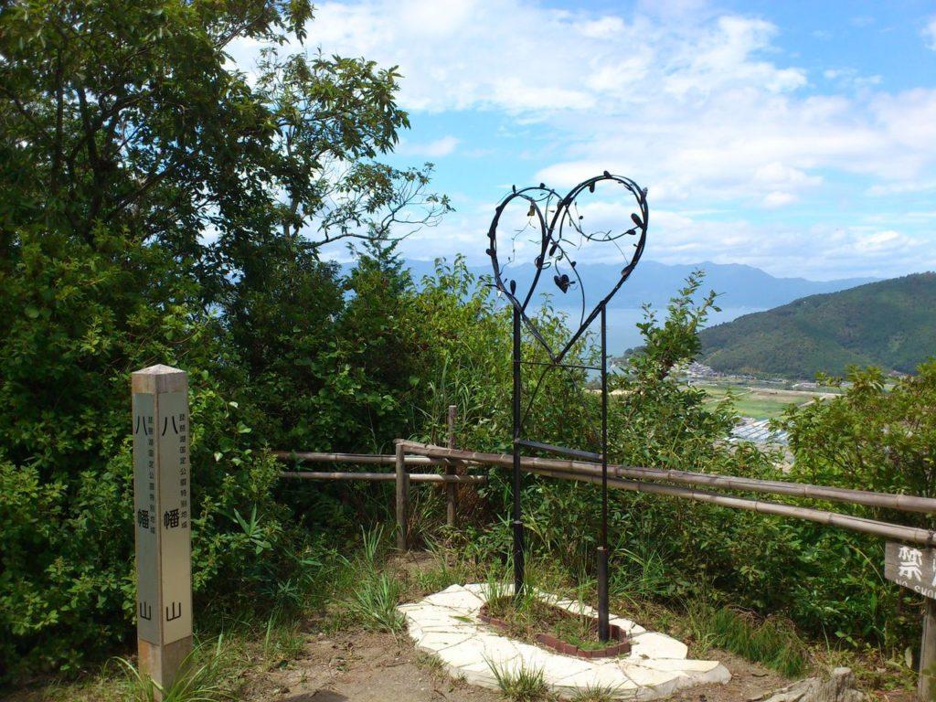 八幡山城跡の北の丸から琵琶湖を見て