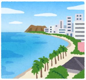 湾曲した砂浜