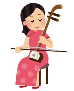 二胡を弾く女性