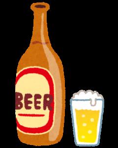 瓶ビールとコップ