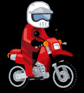 オフロードバイクに乗る男性