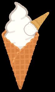 ワッフルコーンのアイスクリームにおまけ付き