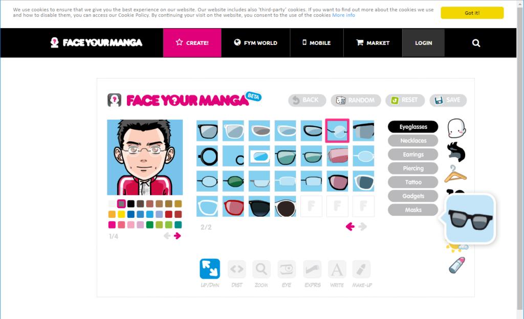 Face Your Manga の作成画面で装飾品の選択
