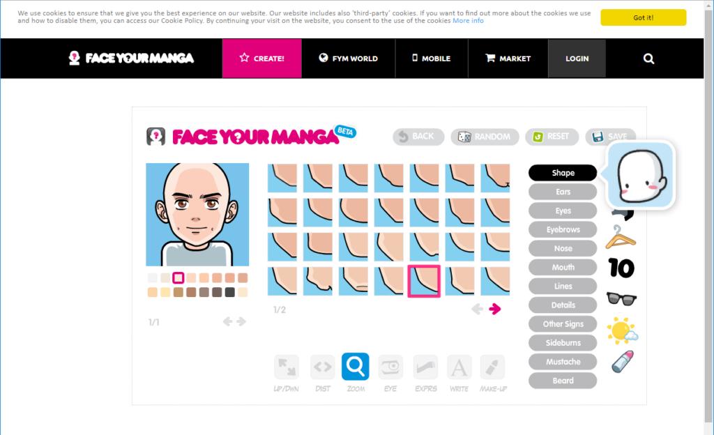 Face Your Manga の作成画面で顔の部品の選択