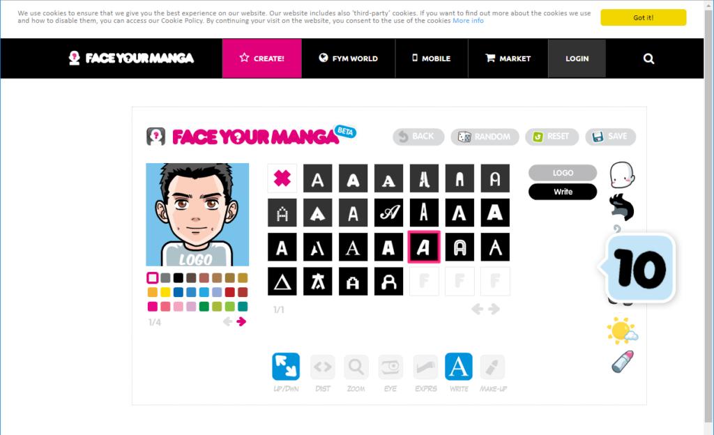 Face Your Manga の作成画面で下着のロゴの選択
