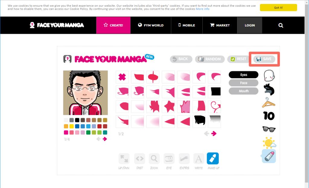 Face Your Manga の作成画面の「SAVE」ボタン