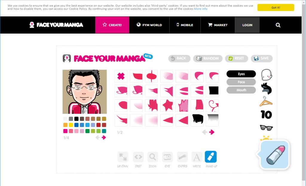 Face Your Manga の作成画面で化粧の選択