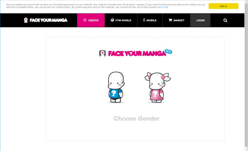 Face Your Manga の作成画面で性別の選択