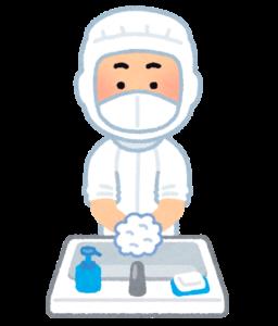 白衣を着て手洗い