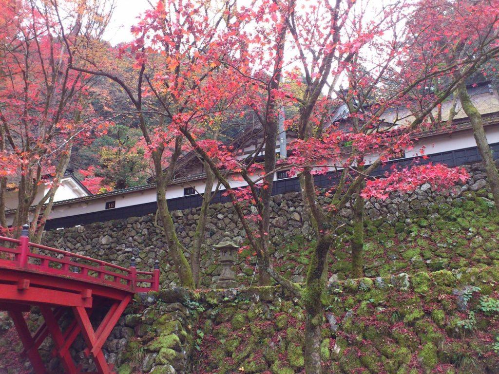 横蔵寺の駐車場から医王橋と客殿