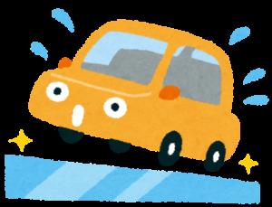 スリップする自動車