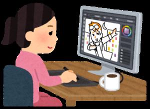 パソコンでイラストを描く女性