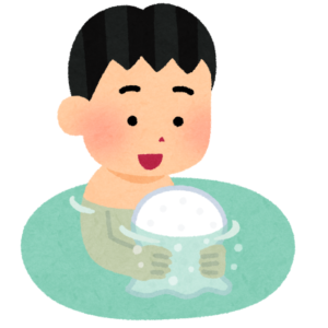お風呂でタオル風船