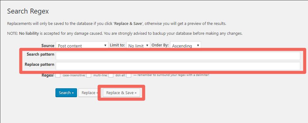 ツール「Search Regex」で置換