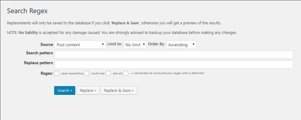 ツール「Search Regex」の画面