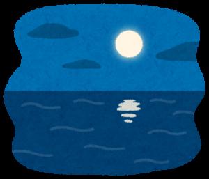 夜の海に浮かぶ月