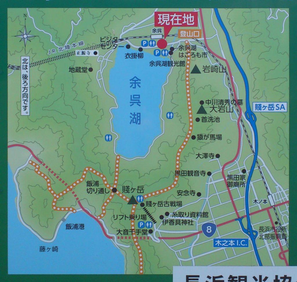 余呉湖周辺の地図