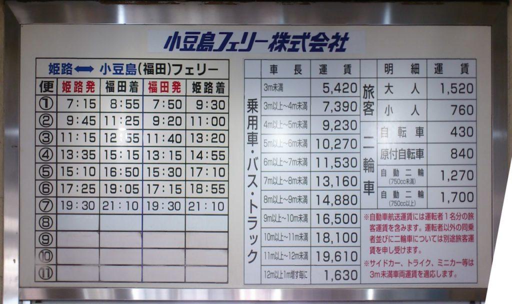 小豆島フェリー運賃表
