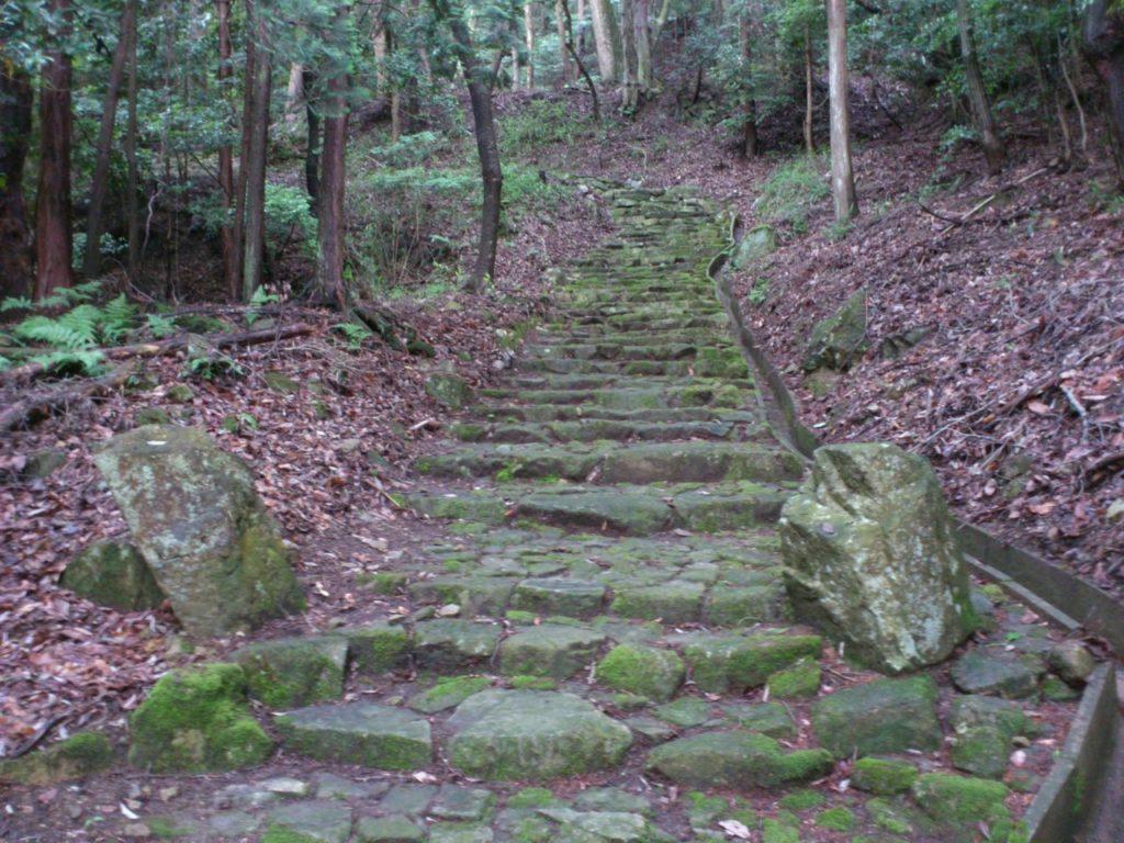 石段と両脇の石