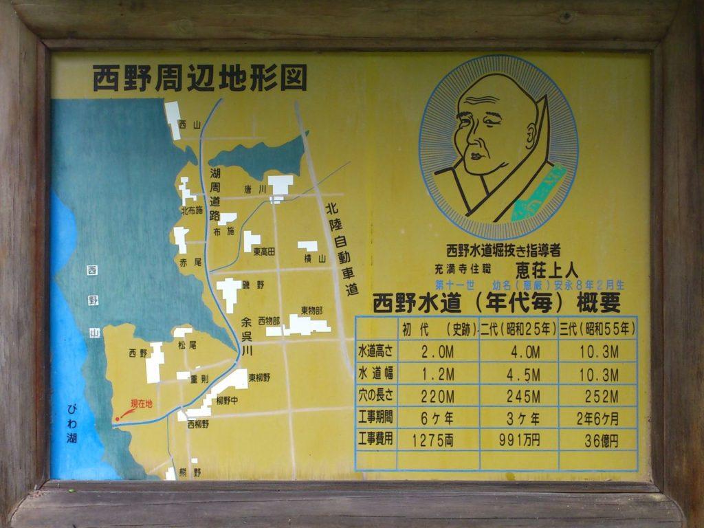 西野周辺の地形図と恵荘上人