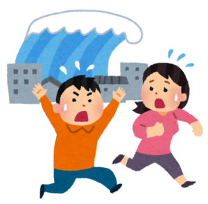 津波から逃げる人々
