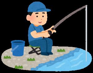 川釣りする男性