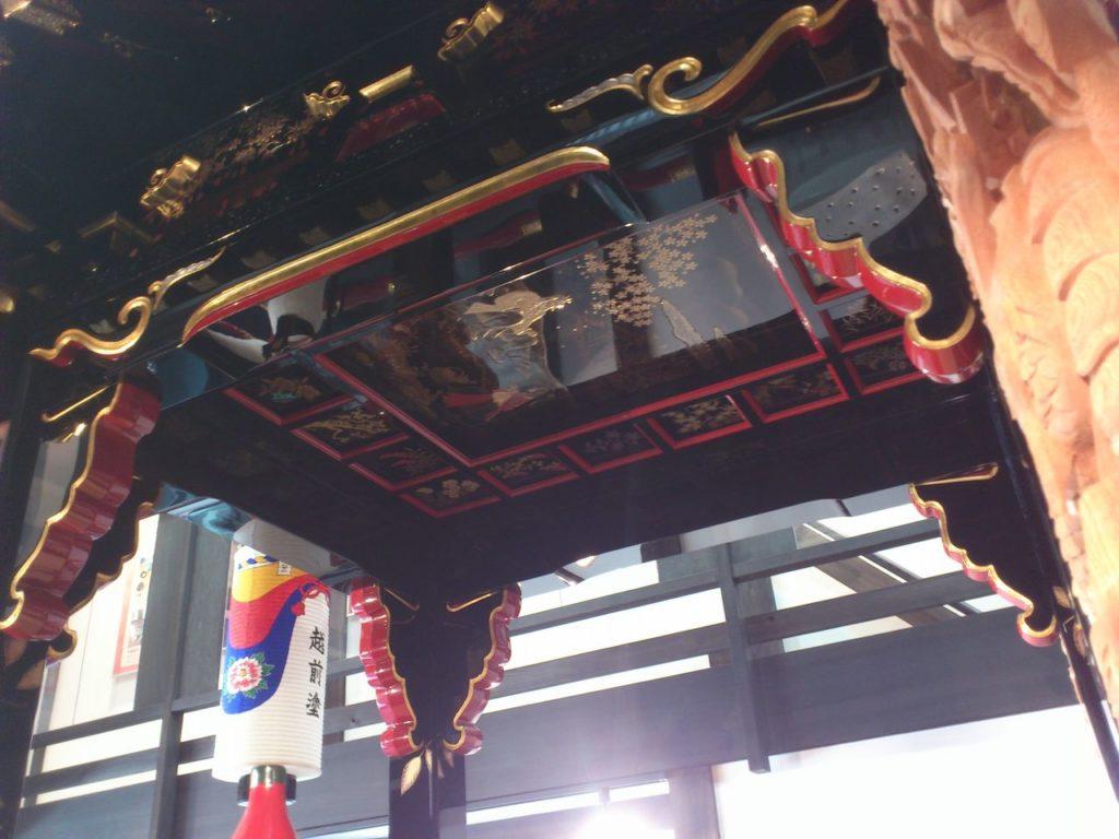 越前塗山車の天井