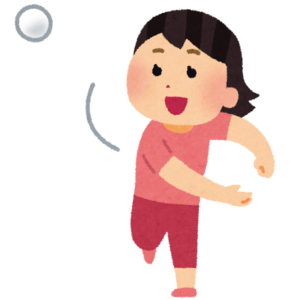 ボールを投げる女性