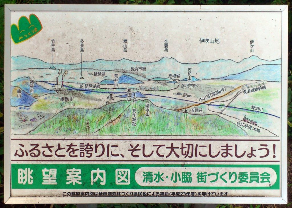 箕作山の眺望案内図