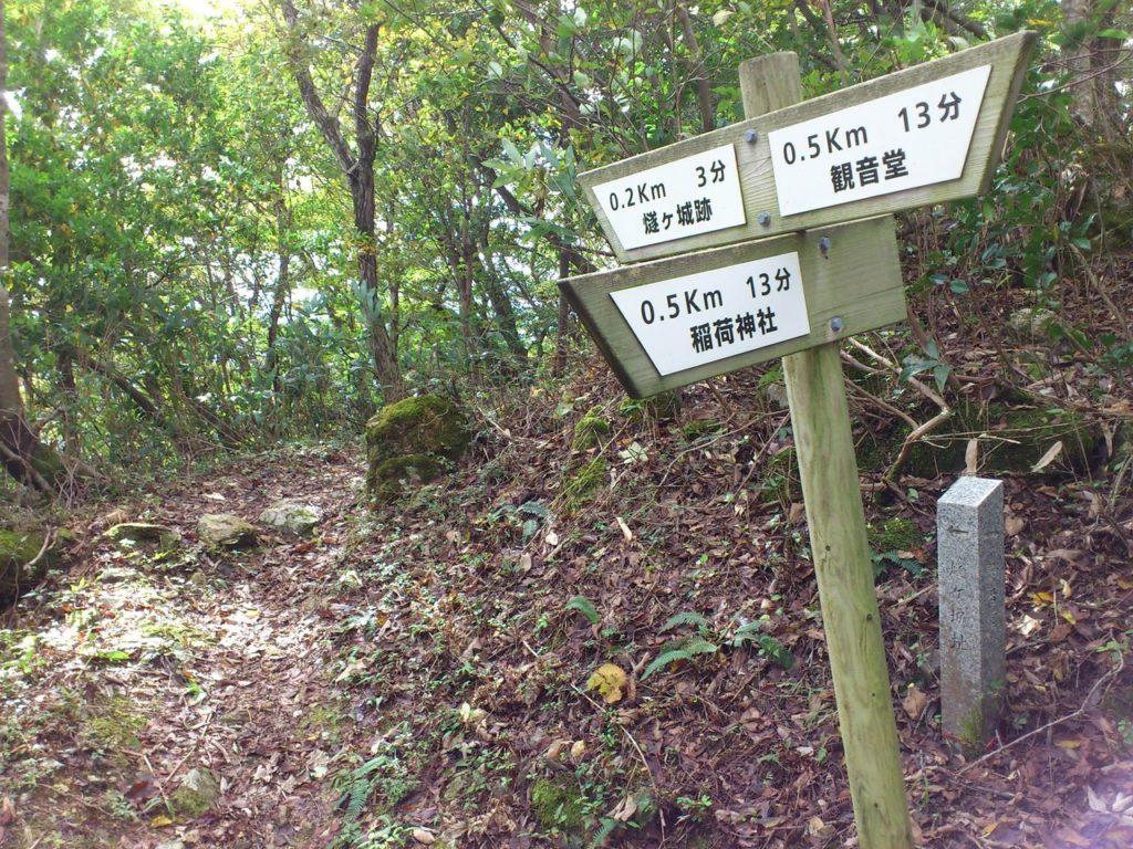 分岐点(左)稲荷神社(奥)燧ヶ城址