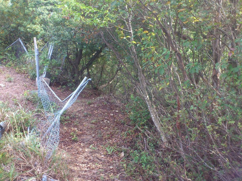 ひしゃげた鉄塔のフェンス
