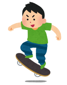 スケートボードをする男性