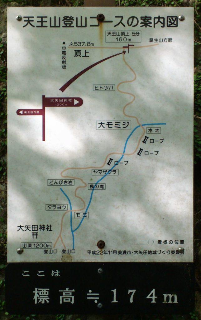 天王山登山コースの案内図