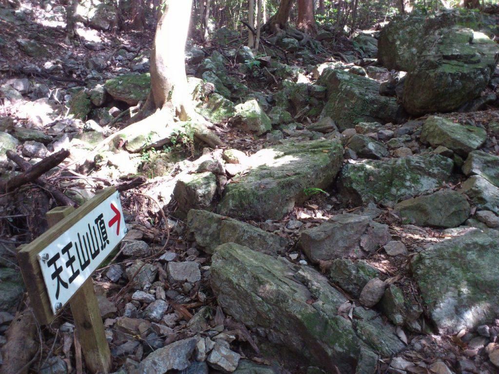 岩場の方向を指す案内板