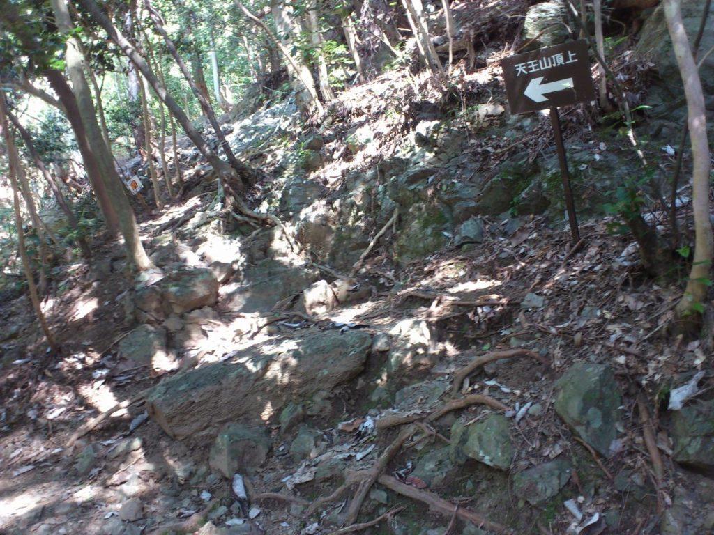 ロープの岩場へと続く岩場
