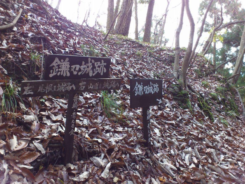 切通の分岐点(左)尾根筋(右)山道