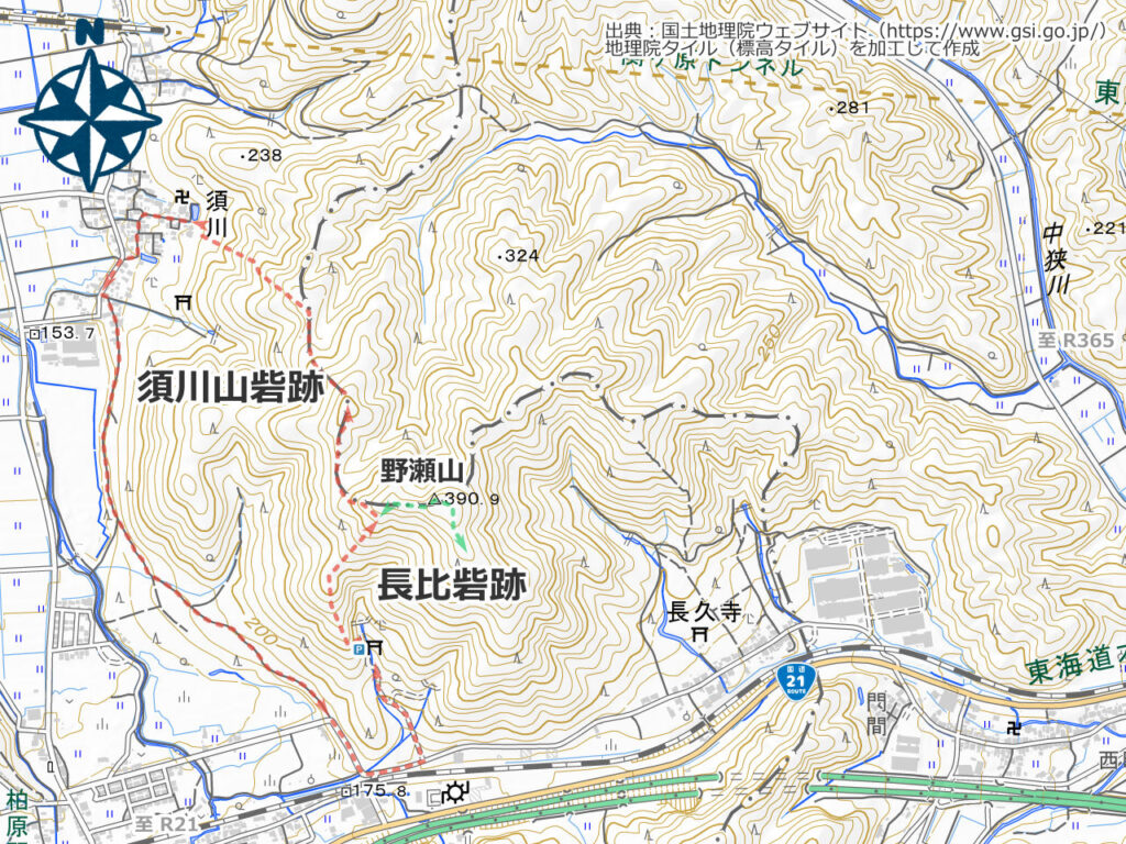 野瀬山周辺地図