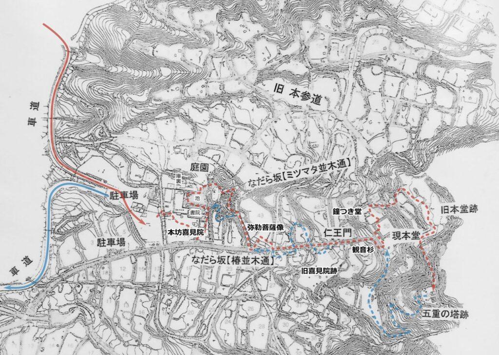 百済寺坊跡分布図