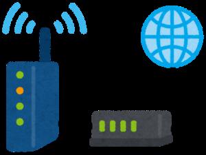 インターネットにつながった無線LANルーターとモデム