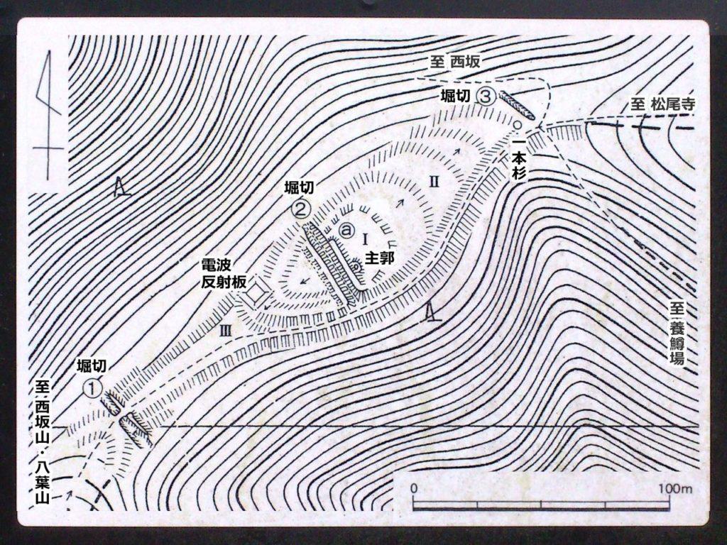 松尾寺山砦跡平面図