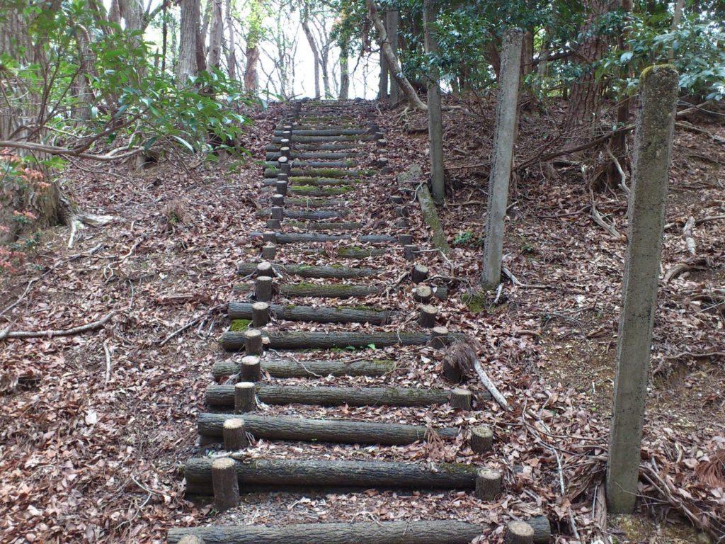 大堀切に丸太の階段