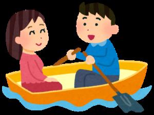 貸しボートに乗るカップル