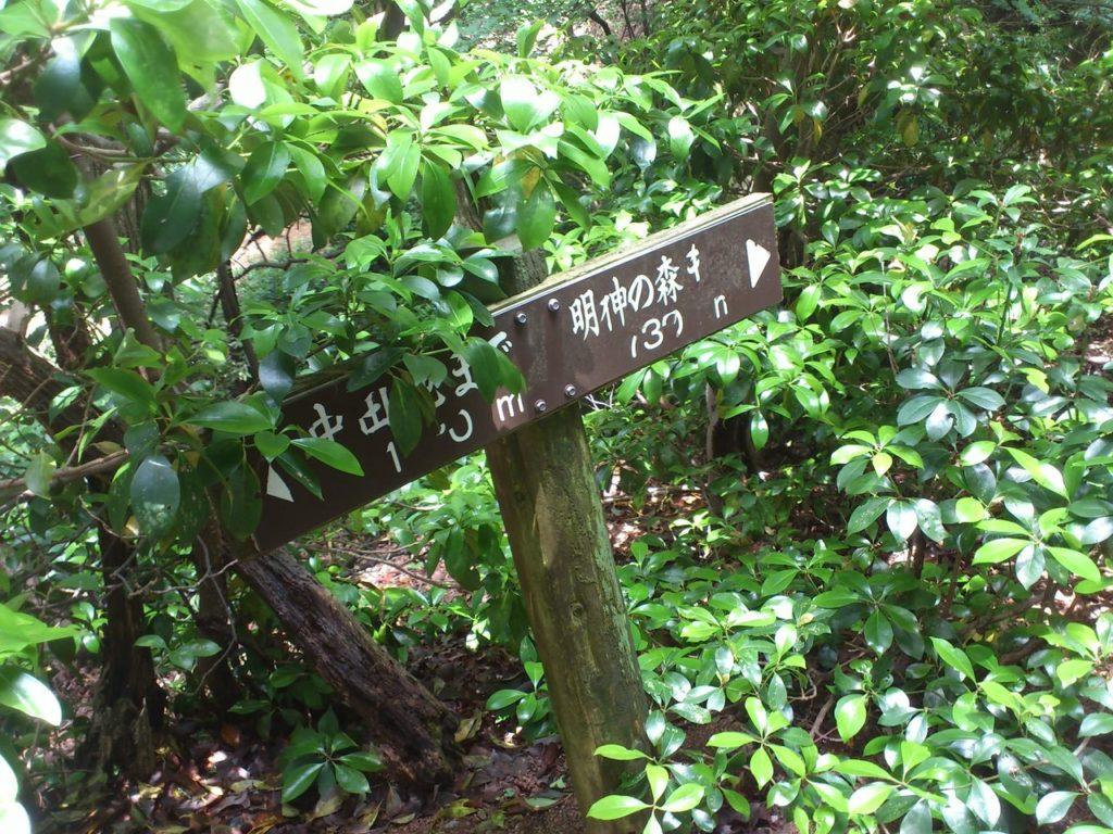 明神の森まで 730メートル