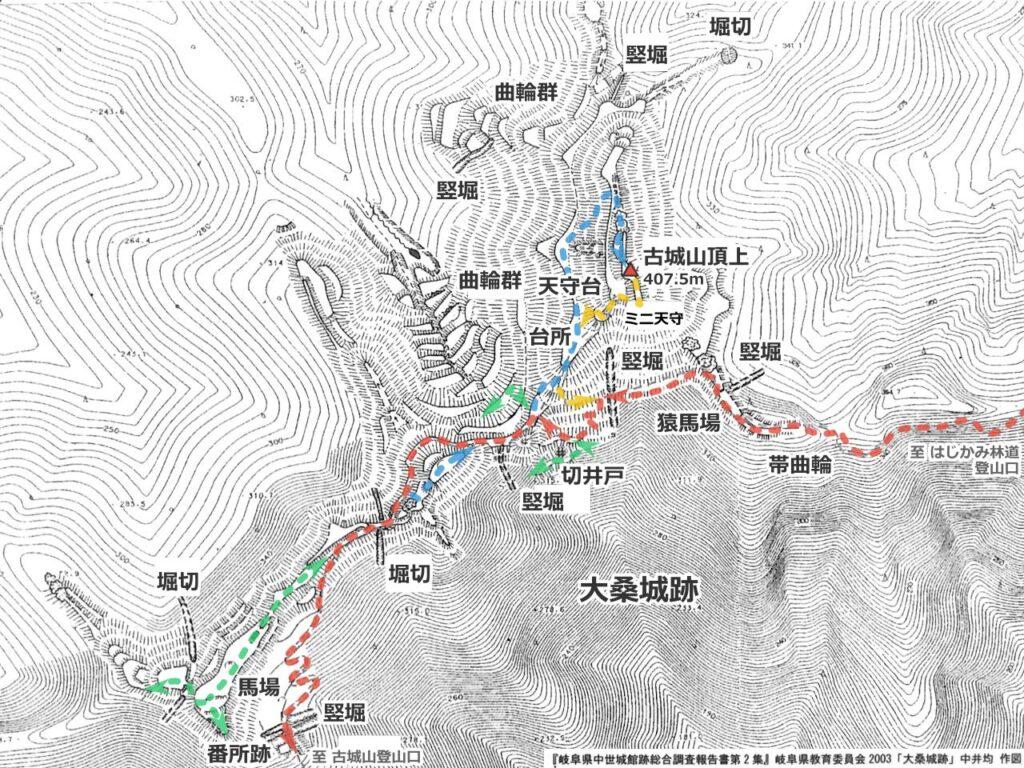 大桑城跡平面図